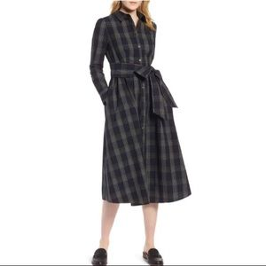 🪡 1901🪡PLAID MIDI SHIRTDRESS WITH MATCHING SASH